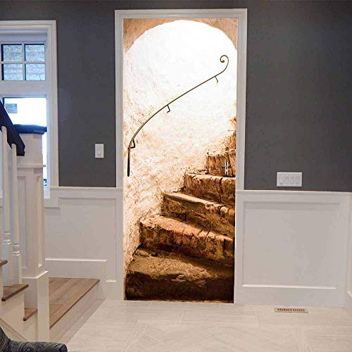 DIOPN groothandel PVC zelfklevende waterdichte muurschildering behang 3D tunnel deur sticker moderne creatieve DIY woonkamer slaapkamer sticker (deur sticker 77 * 200 cm)