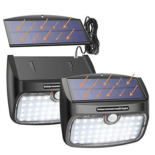 Luz Solar Exterior, 48 LED Foco Solar de Seguridad [Panel Solar Separable] con Sensor de Movimiento, 800LM Luz Solar Impermeable para Jardín, Garaje, Camino, Patio, 1 Piezas
