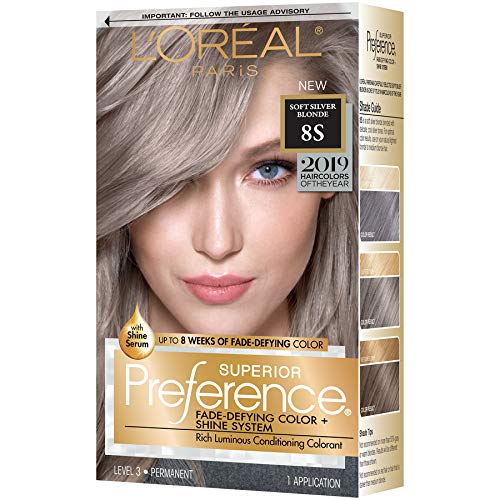 Price comparison product image L'oreal Paris Hair Color Superior Preference Fade-defying Plus Shine Permanent Coloring,  8s Soft Silver Blonde (Pack of 1)