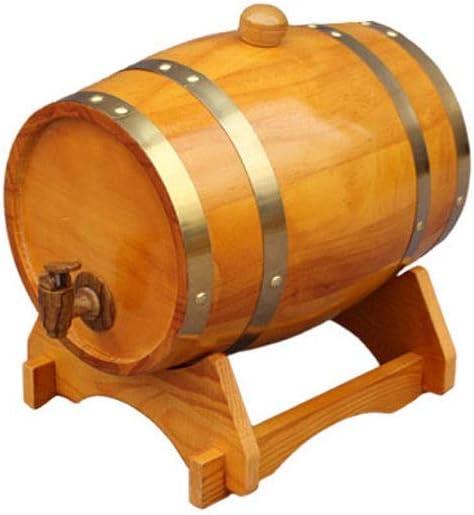 Barril de Roble Vintage Oak Barrel 3L Dispensador De Vino Dispensador De Madera Vinilo De Whisky Cerveza Incorporado Forro De Papel De Aluminio (Color : Yellow)