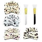 Bandeau Cheveux Femme, Fexinshern 4 Pièces Headband de Cheveux Femmes Bowknot Maquillage Bandeau élastique avec 2 Pinceaux pour Masque Facial pour Douches Faciales Cosmétiques Yoga Sport (A)