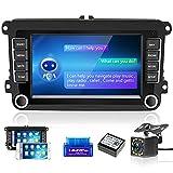 Radio de Coche GPS 2 DIN con Asistente de Voz/Carplay/Android Auto para VW,Reproductor MP5 Automático Pantalla táctil 7'' con WiFi/OBD/Navi/Bluetooth/Cámara de Marcha Atrás