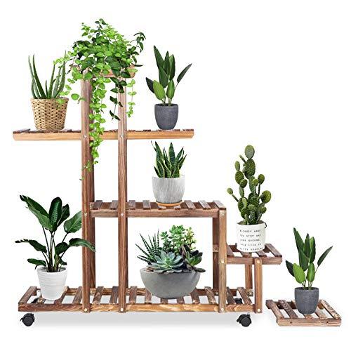 Soporte para plantas de bambú, soportes para flores de madera Estante para flores Soporte para exhibición de plantas Estante para macetas de madera Estante de almacenamiento para interiores y exterior