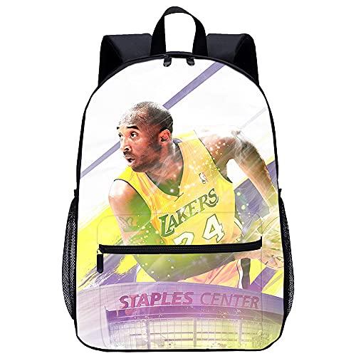 TUOXING Zaino stampato in 3D Kobe Bryant, Star superstar Zaino stampato in 3D Zaino da picnic Zaino cartone animato per campeggio, trekking, passeggiate, bicicletta 17 pollici