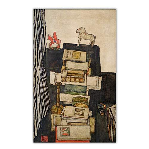 JLFDHR Egon Schiele 《Natura Morta con Libri》 Arte su Tela Pittura A Olio Opere d'Arte Poster Immagine Decorazione Murale Home Soggiorno Decorazione-60X100Cmx1 Senza Cornice