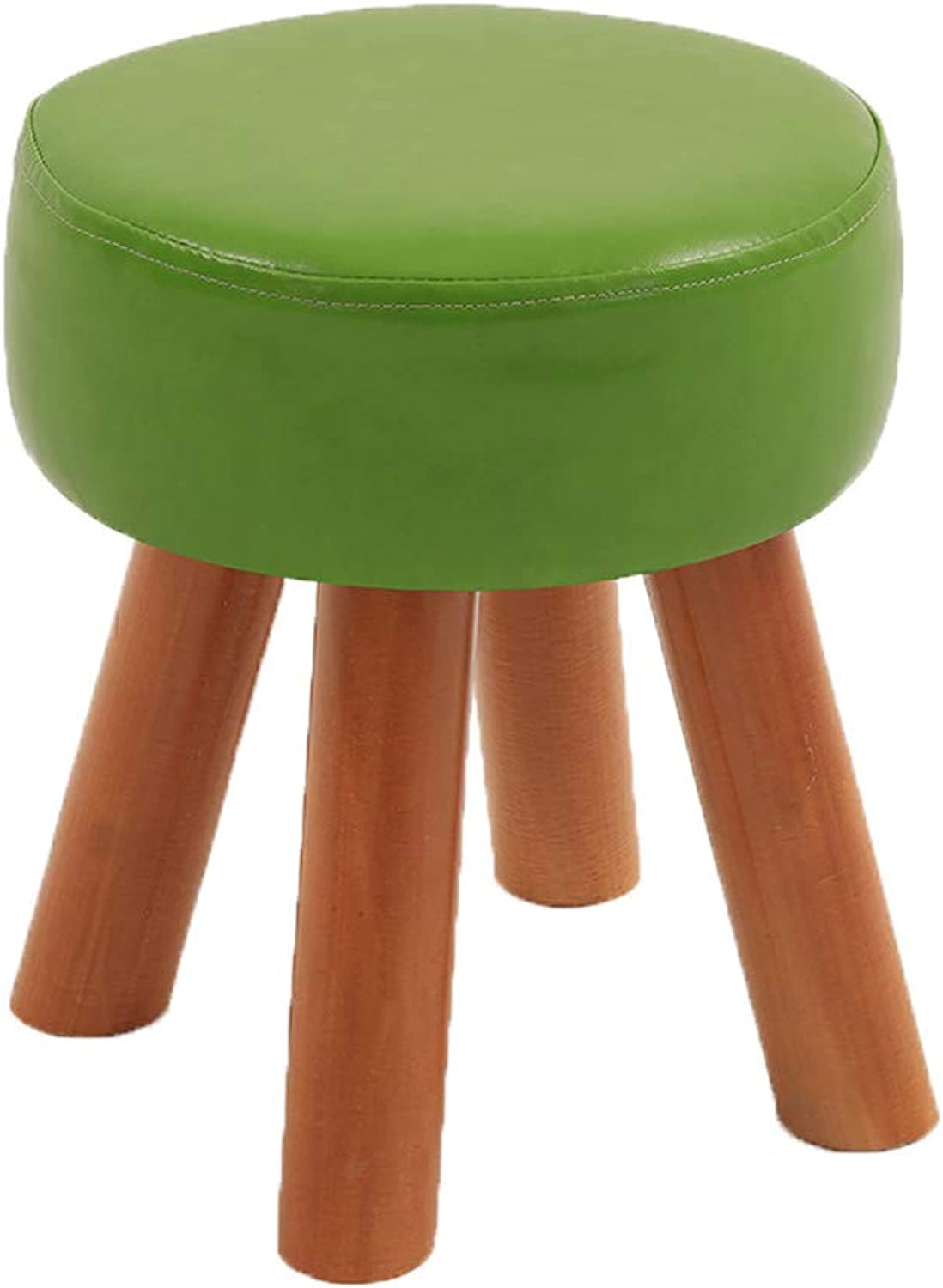 HLJ Creative Leather Tea Table Stool Simple Solid Wood Home Stool Comfortable Fashion Sofa Bench for Change shoes Bench (Size   28  32cm)