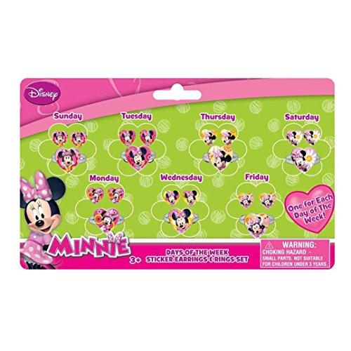 Joy Toy 71108Minnie 7Giorni Set di Anelli e Orecchini Sticker su Backer Card