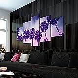 KOPASD Cuadro en Lienzo 200x100 cm Paisaje Purple Palms Sunset Impresión de 5 Piezas Material Tejido no Tejido Impresión Artística Imagen Gráfica Decoracion de Pared Ciudad