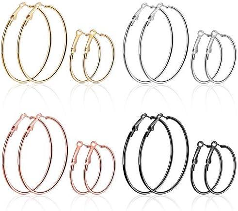 MENOLY 8PCS Stainless Steel Hoop Earrings for Women Girls 4 Different Color Big Hoop Earrings product image