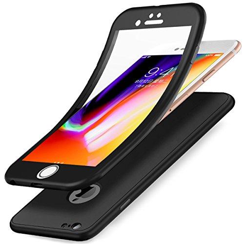 Funda iPhone SE,Funda iPhone 5S,Funda iPhone 5,360 Grados Integral Para Ambas Caras & Cristal Templado 3 in 1 TPU Silicona Fundas Skin Cover Carcasa Silicona Funda Case para iPhone SE/5S/5,Negro