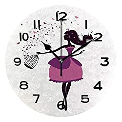 ALUONI Round Wall Clock Princess, Graphic Silhouette Princess Holding A Cage of Butterflies, Dark Brown 10 inch Morden Wall Clocks Silent Round Decorative Clock No26908