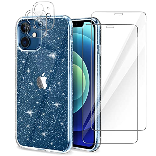 ZWWZ Glitter Clear Case Compatible with iPhone 12 with 2 Pack Screen Protector with 2 Pack Camera Lens Protector