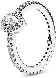 Radiant Teardrop Ring, Vintange-Cut & Clear CZ 196254CZ
