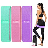 ihuan Resistance Bands for Legs and Butt, 3 Levels Exercise Band, Anti-Slip & Roll Elastic Workout Booty Bands for Women Squat Glute Hip Training