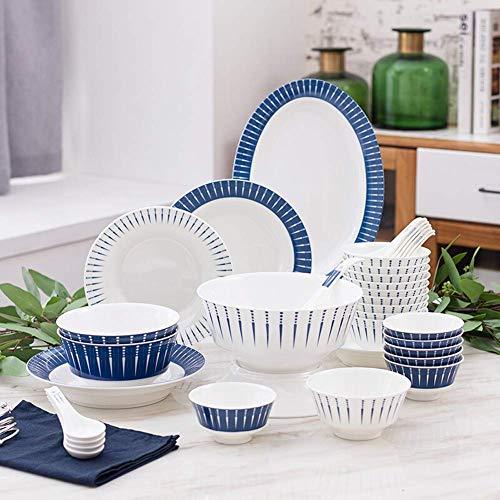 GAXQFEI Juego de vajilla de cerámica simple, platos/tazones/plato, vajilla japonesa de 36 piezas, juego de combinación de porcelana, restaurante para fiestas familiares, servicio para 10 personas