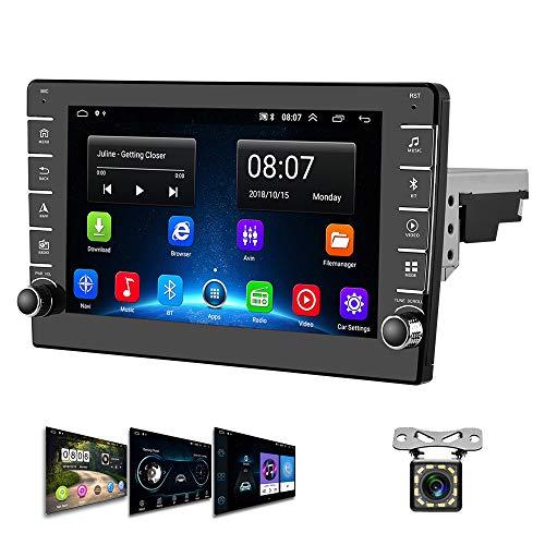 Android Radio de Coche 1 DIN GPS CAMECHO Pantalla Táctil de 8 Pulgadas Radio FM Bluetooth WiFi Enlace Espejo del teléfono móvil USB Doble + Cámara Trasera