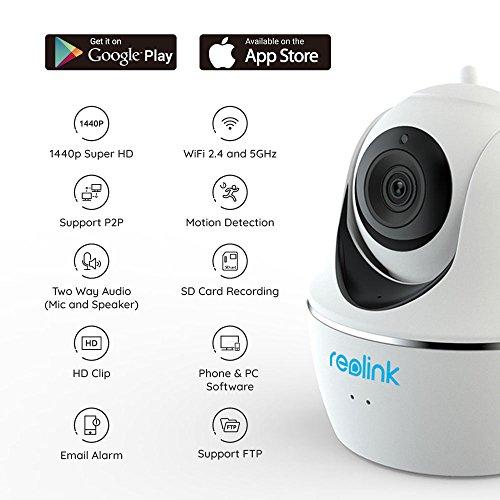 REOLINK Videocamera WiFi Full HD 4MP 2.4GHz o 5GHz Dual Band Pan Tilt Rilevazione Movimento Remoto Allarme Audio Bidirezionale Visione Notturna IP Camera di Sorveglianza C1 PRO (Bianco)