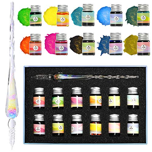 ESSSHOP Glass Dipped Pen Ink Set - Crystal Rainbow Glass Pen with 12 Colorful Inks for Art, Writing, Signatures, Calligraphy, Decoration, Gift for Kids and Artist
