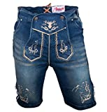 Almwerk Herren Trachten Jeans Lederhose kurz Modell Platzhirsch, Farbe:Blau;Lederhose Größe Herren:54