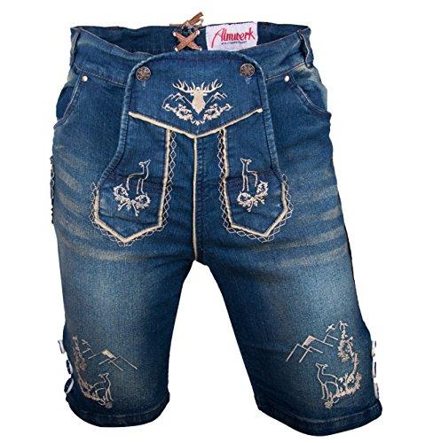 Almwerk Herren Trachten Jeans Lederhose kurz Modell Platzhirsch, Farbe:Blau;Lederhose Größe Herren:50