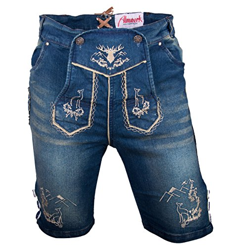 Almwerk Herren Trachten Jeans Lederhose kurz Modell Platzhirsch, Farbe:Blau;Lederhose Größe Herren:48