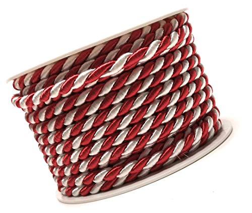 Kordel 10m x 6mm zweifarbig Rot Weiß Drehkordel Kordelband Kordelschnur