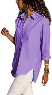قمصان S-Fly نسائية كبيرة الحجم بأكمام طويلة كاجوال سادة بأزرار