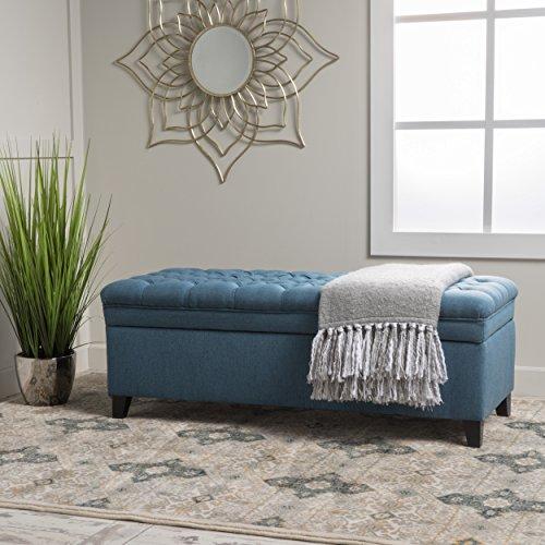 Christopher Knight Home Juliana Fabric Storage Ottoman, Blue