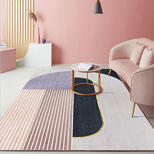 Alfombra Infantil A Prueba De Polvo Diseño Geométrico A Rayas Azul Rosado De La Sala De Niña Habitacion Comedor Pasillo para Mesa Pie De Cama Jarapas 160X230cm
