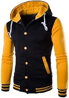 WUFAN Men's Casual Raglan Sleeve Hoodie Pocketed Pullover Shirts Top