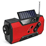 Emergency Solar Crank Radio AM/FM/NOAA Weather Radio with Flashlight,2000mAh Power Bank,SOS Alarm, Reading Lamp,Phone Charger for Tornadoes Hurricanes,and Storms
