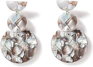 Acetate Sheet Geometry Circular Long Section Retro earring Circular Mixed Style Earrings Ear Studs Earrings