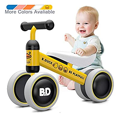 Baby Balance Bike 10-24 Month Children Walker | Toys for 1 Year Old Boys Girls | No Pedal Infant 4 Wheels Toddler Bicycle | Best First Birthday New Year Yellow Duck