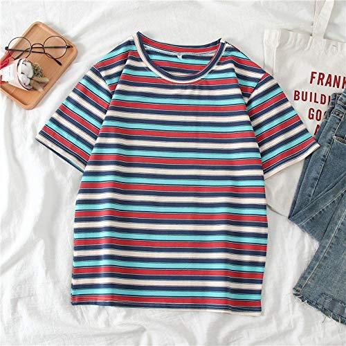 Camiseta para Mujer Camiseta De Mujer con Rayas Dulces Geometirc Camiseta De Manga Corta Mujer Coreana Tops Parodia Personalidad Mujer Camiseta De Fútbol XL Azul