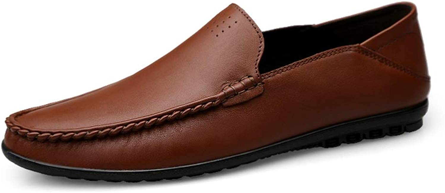 MUMUWU Oxford shoes Formal shoes Penny Loafers for Men Genuine Leather Business Casual Anti-Slip (color   Darkbrown, Size   8.5 D(M) US)