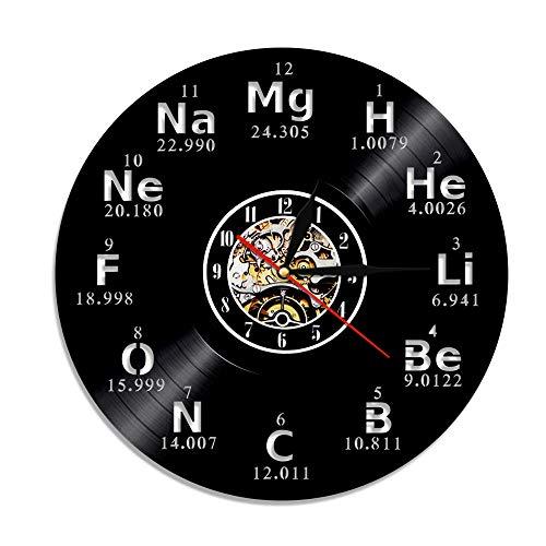 LED Negro Reloj Glock símbolo de química Reloj de Registro Elementos químicos Reloj de Pared Ciclo de la Mesa Arte de la Pared Concepto de Regalo del Maestro Reloj de Pared Moderno