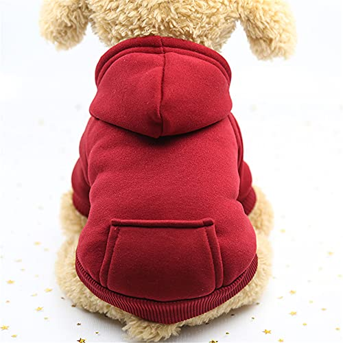 SHUAIHE Suéter Perro Otoño/Invierno Bolsillo De Dos Patas Suéter Ropa Deportiva Ropa De Mascotas Perro Gato Ropa Suministros Para Mascotas Suéter De Bolsillo Vino Rojo S