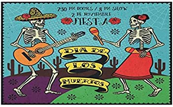 Lunarable Day of The Dead Doormat, Dia de Los Muertos Design with Spanish Couple Dancing Image Print, Decorative Polyester Floor Mat with Non-Skid Backing, 30