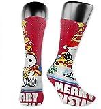 v-kook-v Buon Natale Snoopy Calze a compressione rosse Calze da calcio Calze alte Calze lunghe Sport all'aria aperta per uomo Donna