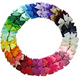 QingHan 40Pcs 3 inch Hair Bows For Girls Grosgrain Ribbon Pinwheel Boutique Clips Teens Toddlers...