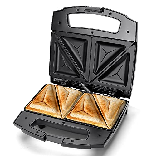Aigostar 800W Sandwich Toaster and Deep Fill Toastie Maker, 2 Slice Sandwich Maker with Non-Stick Plates, Stainless Steel, Easy Clean - Lamo 30RUE