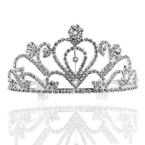 PIXNOR Wedding Prom Bridal Crown Rhinestone Crystal Decor Headband Veil Tiara (Sliver)