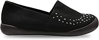 RegettaCanoe Slip-On Womens Loafers: Comfortable Non Slip Shoes for Women for Casual and Smart Casual Apparel, Dressy Womens Wedge Shoes in Red and Black Atom Retro