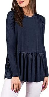 Women's Fall Long Sleeve Ruffle Hem Peplum Shirts Blouses Casual Flowy Tunic Tops