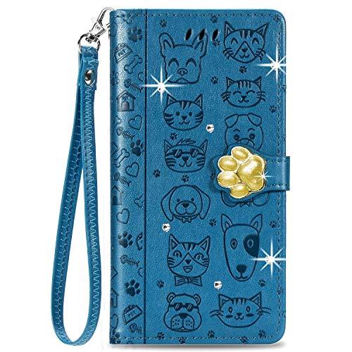 Blllue Funda de cartera compatible con Samsung A21s, Bling Glitter Diamond Dog Footprint PU Funda de cuero para Galaxy A21s - Azul