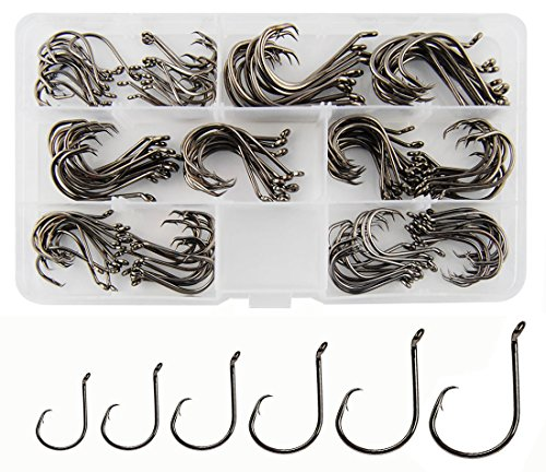Circle Hooks Saltwater Fishing Hooks, 150PCS Fishing Circle Hooks 2X Strong Offset Octopus Catfish Fishing Hooks Assortment High Carbon Steel Bait Fishing Hooks Kit – Size #1 1/0 2/0 3/0 4/0 5/0
