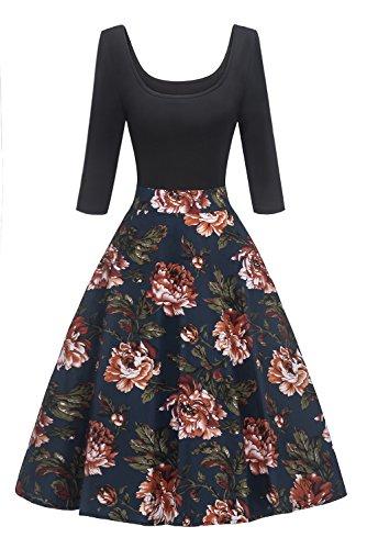 MisShow Damen Elegant Audrey Hepburn Kleid Langarm A-Linie mit Blumendruck U-Ausschnitt Partykleider Cocktailkleid Printkleid Knielang Gr.S-2XL, Blau, S