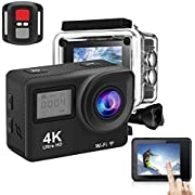Action Camera, 4K 170 Degree Wide Angle WiFi Waterproof Sport Camera, 12MP 30m Underwater Cam with Mounting Accessories Kit, with 2.0 Inch Touch System Display DV Camcorder
