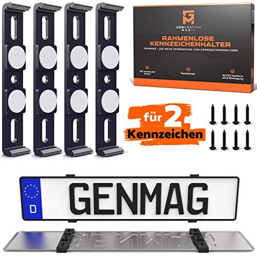 GENMAG® Kennzeichenhalter Rahmenlos 4X | Nummernschildhalterung Auto | Kennzeichenhalterungen für 2 Kfz Kennzeichen | Halterung | Nummernschildhalter | Halter & Nummernschild Simple & fix montiert