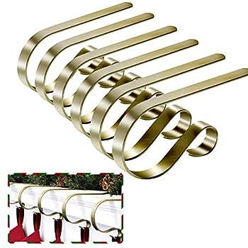 Shaper Corset Stocking Holders for Mantle Set of 6 Christmas Stocking Hangers for Mantel Decor Hooks for Fireplace Mantle Freestanding